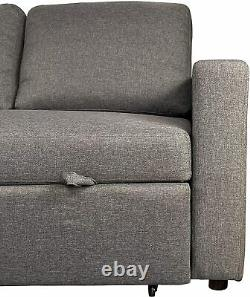 NEW Reegan L Shaped Corner Sofa Bed GREY Hidden Storage & Reversible Chaise