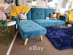 NEW Teal Velvet REVERSIBLE Corner Chaise 3 Seater Sofa Bed DELIVERY