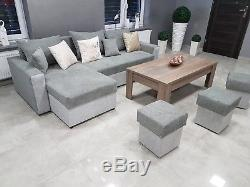 NEW UNIVERSAL SIDE Corner Sofa Bed MALAGA STORAGE BED Grey