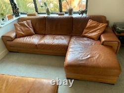 Natuzzi Top Grain Leather Corner Sofa and Day Bed