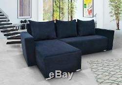Navy Blue Corner Sofa Bed With Storage. Quality Fabric