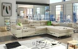 Navy Corner Sofa Bed Storage High Quality Fabric Left Right Modern Luxury