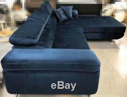 Navy Corner Sofa Bed Storage High Quality WATER RESISTANT Fabric Left Right