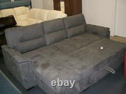 Nebraska grey fabric corner sofa bed