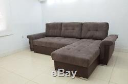 New! Agnes Corner Sofa Bed Eco Leather And Soft Waffle Fabric, XL Bed