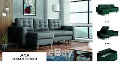 New Ana Universal Corner Sofa Bed Grey Brown Beige Fabric With 2 Storages