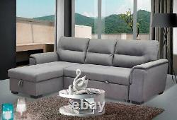 New Ashton Grey Velvet Reversible Chaise Corner Sofa bed + Storage 3 Seater