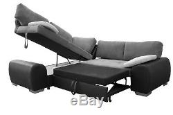 New Corner Sofa Bed Enduro Grey Fabric & Faux Leather With Storage
