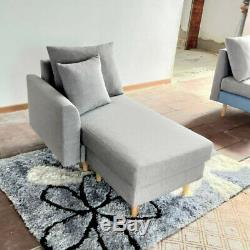 New Couch Fabric Cushions Corner Sofa Bed 3 Seater Sofa & Left/Right Footstool