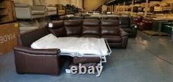 New Designer brown leather electric recliner corner sofa bed