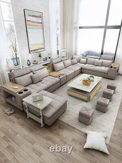 New Fabric Living Room Sofa Bed Set Big U Shape Corner Cloth Couch Speaker Sound