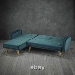 New L-Shaped Sofa Bed, Contemporary Teal Velvet Corner Sofa Oak Legs Couch Seatee