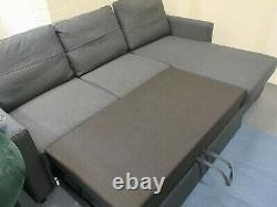 New Large Corner Sofa Bed Storage Dark Grey Fabric Tokio Left Right