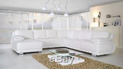 New Msofas Elegance Leather Large Corner White Sofa Bed 6 Seater With Storage