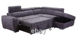 New Rienzo Large Grey Cheap Fabric Corner Sofa Bed Chaise Storage