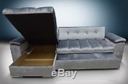New! Silver Gloss Crushed Velvet, Corner Sofa Bed Mike, Large Bed, Universal Hand