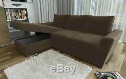 New Stanford L-Shape Corner Sofa Bed with Lift Up Storage in Brown Chenille