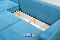 New Stylish Grey Corner Sofa Bed -sprung seat -storage box