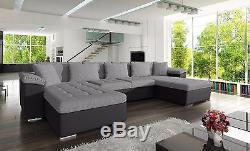 New Wicena fabric & PU leather U-shape corner sofa bed storage black, grey, white