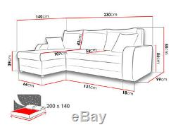 New kris faux leather & fabric corner sofa bed settee + storage black grey white
