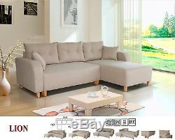 New Lion Universal Corner Sofa Bed In Fabric With Storage Grey Pink Blue  Beige
