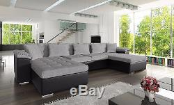 New wicenza fabric & faux leather corner sofa with bed in black grey white grey