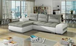 OTTO Corner Sofa Bed Storage Grey Fabric White Faux Leather Left Right
