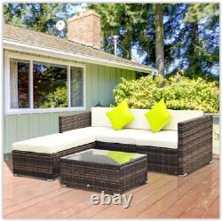Outdoor Rattan Corner Sofa Patio Sun Lounger Garden Chair Table Set Day Bed 5pcs