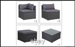 Outdoor Rattan Corner Sofa Patio Sun Lounger Garden Chair Table Set Day Bed UK