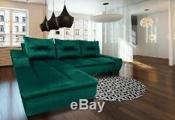 PANAMA Green Corner Sofa Bed Storage WATER RESISTANT FABRIC Modern Left Right
