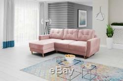 PINK CORNER SOFA BED WITH STORAGE&sprung seat. QUALITY VELVETEEN FABRIC
