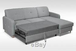 PINK CORNER pull out SOFA BED. Velveteen fabric &sprung seat. With storage