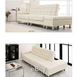 PU Leather Corner Sofa with Bed & Storage White 3 Seater Stool Furniture Unit