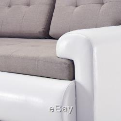 Panana Faux Leather&Fabric Corner Sofa Bed With Storage Black Grey White Modern