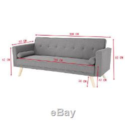 Pananav Modern luxury Fabric Corner Sofa Bed Cushions Recliner 3 Seater Gray