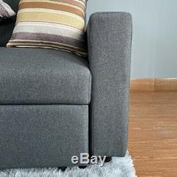 Per-order Corner Sofa Bed With Large Storagegrey Fabricvery Comfortable