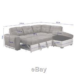 QUINTO Two-Tone Grey Fabric Pull-Out Corner Sofa Bed with Storage Footstool