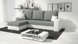 REVERSIBLE CORNER SOFA BED MOJITO IN GREY&white. WITH STORAGE
