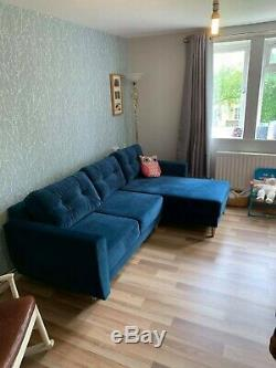 ROYAL BLUE, NAVY CORNER SOFA BED RETRO WITH STORAGE, SPRUNG SEAT. L shape