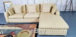 Ralph Lauren Check Pattern Straw Fabric Corner Sofa Settee Bed Harrods London