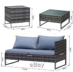 Rattan Corner Sofa Set Grey Garden Furniture Metal Patio Lounge Wicker Table Bed