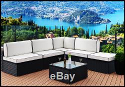 Rattan Garden Sofa Corner Sun Lounger Outdoor Patio Bench Day Bed Furniture UK