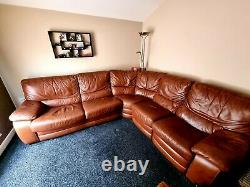 Real leather corner sofa bed