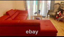 Red eco-leather corner sofa bed with storage in very good condition