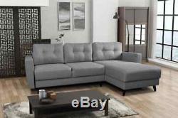 Retro Grey Corner Sofa Bed, With Storage, Sprung Seat