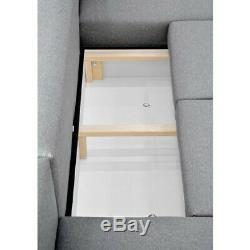 Retro Light Grey Corner Sofa Bed, With Storage, Sprung Seat