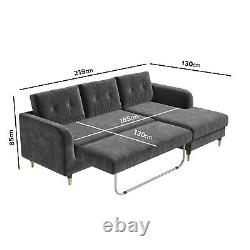 Right Hand Facing Corner Sofa Bed in Grey Velvet Seats 3 Sutton