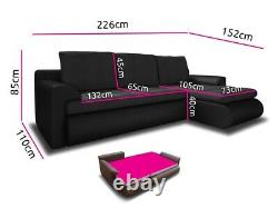 Right Hand Side Corner Sofa Bed in Capuchino / Brown colour with one storage