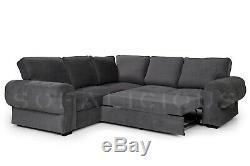 SOFALICIOUS Nico Corner Sofa Bed with Storage Formal Cushions Dark Grey
