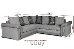 SOFALICIOUS Vigo Corner Sofa Bed with Storage Formal Cushions Grey